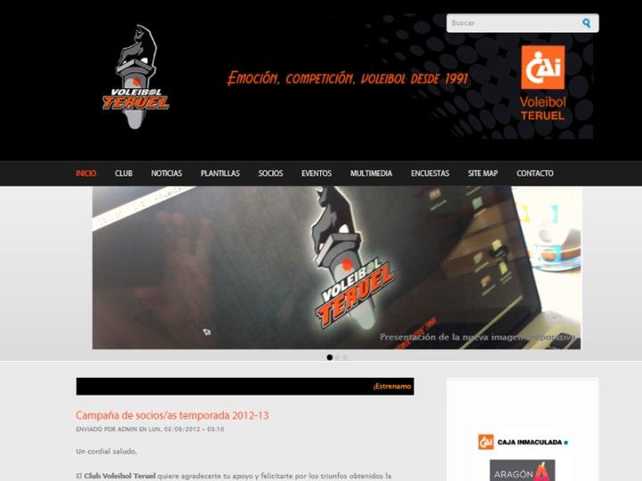Pantallazo de la web del Club Voleibol Teruel www.voleibolteruel.com