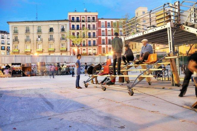 En una actividad en la plaza de la cebada en Madrid. Fotografía cedida por Paisaje Transversal.