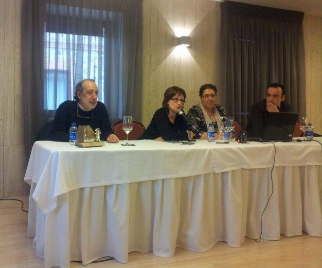 Vicente Pérez, Mª Antonia Reinares, Mª Mercedes González Rojo (concejala de cultura del ayuntamiento de Astorga) y Pedro Lechuga.
